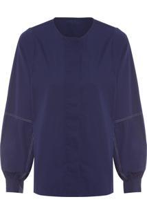 Camisa Feminina Manga Bishop Com Abotoamento - Azul Marinho
