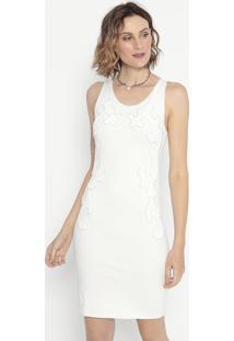 Vestido Com Bordados Em Pedrarias- Off White- Shirleshirley Dantas