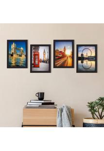 Quadros Fotos Londres Moldura Preta 33X43Cm Kit4Un