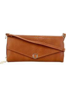 Carteira Luxcel Mini Bag Croco Feminina - Feminino-Caramelo