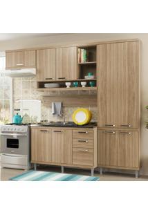 Cozinha Compacta 9 Portas 3 Gavetas Sicília Balcão P/ Pia 5838 Argila - Multimóveis