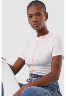 Camiseta Ellus Jersey Canelada Off-White - Kanui