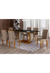 Conjunto De Mesa De Jantar Com 6 Cadeiras Maia Ii Suede Animalle Imbuia E Chocolate