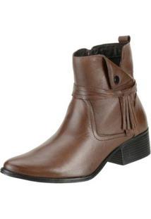Bota Ankle Boot Cano Curto Dududias10 Couro Feminina - Feminino-Marrom