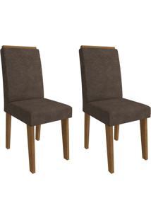 Conjunto Com 2 Cadeiras De Jantar Taís Suede Savana E Cacau