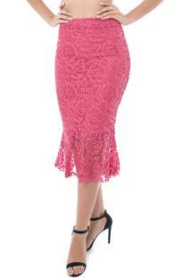 Saia Pkd Concept Lápis Renda Chanel Com Babado Rosa