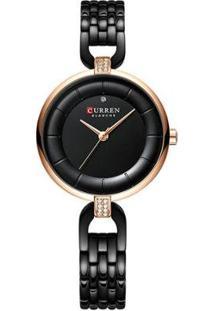 Relógio Curren Analógico C9052L Feminino - Feminino-Preto