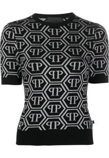 Philipp Plein Blusa De Tricô Com Logo - Preto