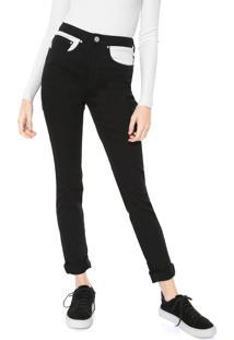 Calça Sarja Calvin Klein Jeans Slim Color Block Preta/Branca