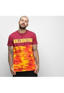 Camiseta Bulldog Fish Camo Tech Masculina - Masculino-Vinho