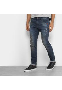 Calça Jeans Skinny Rock & Soda Estonada Rasgos Cintura Alta Masculina - Masculino