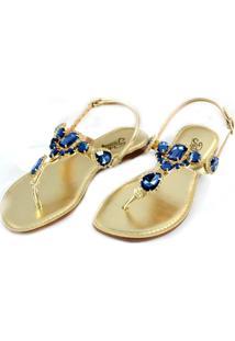 Sandália Rasteira Prata Couro Metal Dourado/Pedraria Azul 1009923