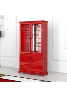 Cristaleira 4 Portas Portinari Vermelho - Urbe Móveis