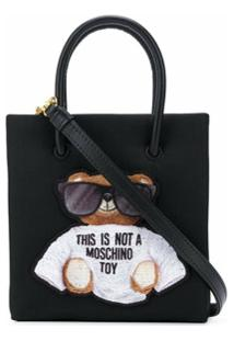Moschino Bolsa Tote Mini Com Bordado Teddy Bear - Preto