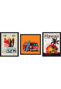 Conjunto Com 3 Quadros Decorativos Hawaii Colorido