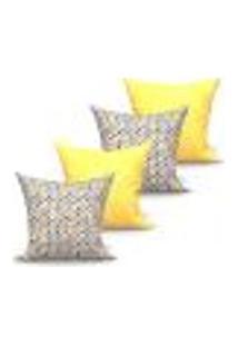 Conjunto De Capas Para Almofada Com 4 Peças Medalhão Triângulo Amarelo E Cinza 60X60 Cm