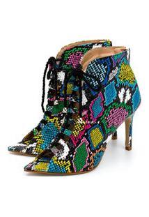 Sapato Scarpin Abotinado Salto Alto Fino Em Napa Verniz Cobra Colorido Confort