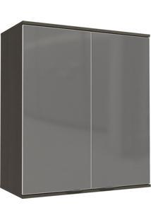 Armário Aéreo Cozinha 2 Portas Com Vidro Inox Onix/Steel - Kappesberg