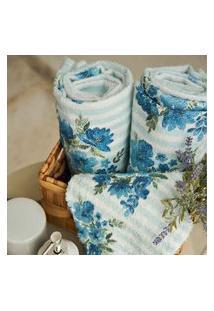 Toalha De Banho Lepper Aquarela Floral 3 Peças Azul