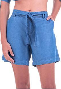 Bermuda Jeans Leve Bloom Média Com Cinto Azul