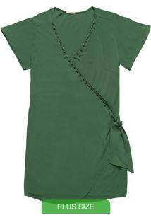 Vestido Curto Com Decote V Verde