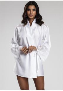 Robe Recco De Charmeuse Prime E Renda Branco - Kanui