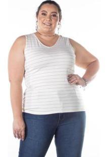 Regata Plus Size Listras Lurex Rovitex Feminino - Feminino-Off White