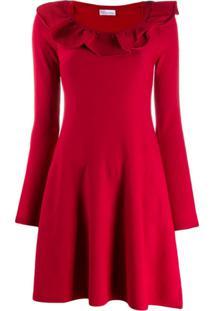 Red Valentino Vestido Curto De Tricô Com Babados - Vermelho