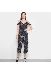 Macacão Longo Lily Fashion Open Shoulder Feminino - Feminino-Preto+Azul