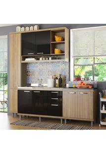Cozinha Compacta 8 Portas Para Pia Com Balcão 5812 Preto/Argila - Multimóveis