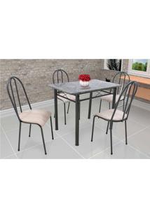 Conjunto De Mesa Com 4 Cadeiras Genebra Couro Sintético Preto E Nature