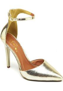 Scarpin Ellas Online Salto Alto Metalizado - Feminino-Dourado