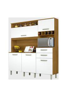 Cozinha 5 Portas 2 Gavetas Smart Freijó/Branco Nesher