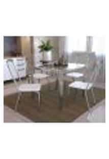 Conjunto De Mesa Com Vidro E 4 Cadeiras Em Metal Kappesberg Cromado/Branco