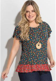 e698302596 ... Blusa Floral Mini Manga Evasê Plus Size Quintess