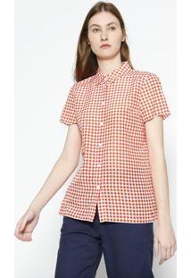 Camisa Quadriculada Com Seda- Laranja & Branca- Lacolacoste