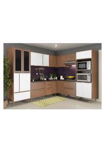 Cozinha Completa Multimóveis Com 9 Peças Calábria 5461 Nogueira/Branco