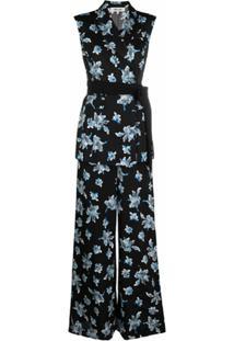 Dvf Diane Von Furstenberg Macacão Com Transpasse E Estampa Floral - Preto