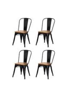 Kit 4 Cadeiras Tolix Iron Assento Madeira Preto Brilhante Aco Industrial Sala Cozinha Jantar Bar