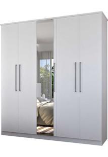 Guarda-Roupa Casal 5 Portas C/ 1 Espelho 100% Mdf Branco Foscarini