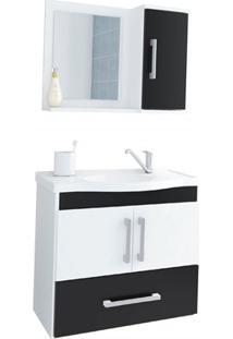 Gabinete Suspenso Para Banheiro Atenas 56,5X63,5Cm Branco E Preto