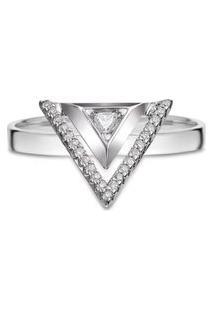 Anel Ouro Branco E Diamantes Grande