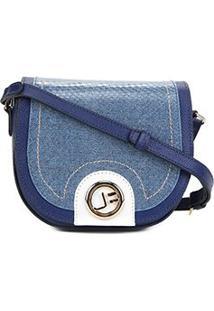 Bolsa Couro Jorge Bischoff Mini Bag Arredondada Feminina - Feminino-Marinho