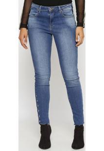 Jeans Skinny Com Ilhoses- Azul- Miss Bellamiss Bella