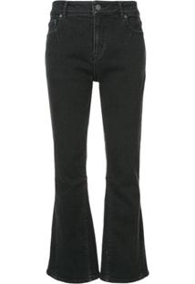 Julien David Cropped Flared Jeans - Preto