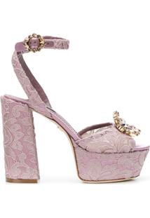 Dolce & Gabbana Sandália 'Keira' De Renda - Rosa
