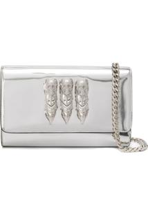 Philipp Plein Clutch 'Is It For You' De Couro - Prateado