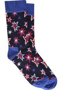 Meia Happy Socks Cano Alto Argyle Masculina - Masculino