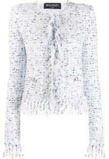 Balmain Fringe-Trimmed Tweed Jacket - Branco