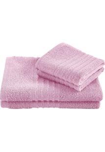 Jogo Toalha Felpuda De Banho Lepper Unique 3 Peças Rosa